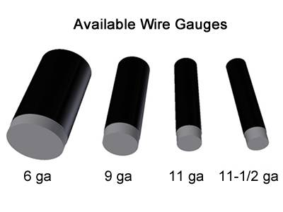 Black vinyl-coated chain link fence wire gauge from 6 to 12.5.