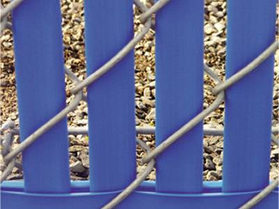Blue bottom locking slats for galvanized chain link fence.