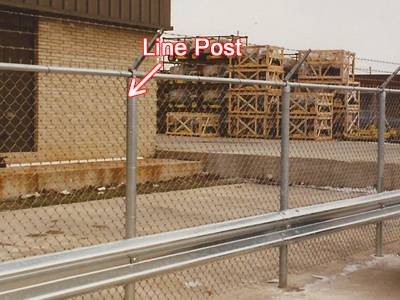 Galvanized line post with barb wire arm.