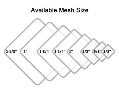 GBW chain link fence mesh opening from 2 1/8 to 3/8 in.