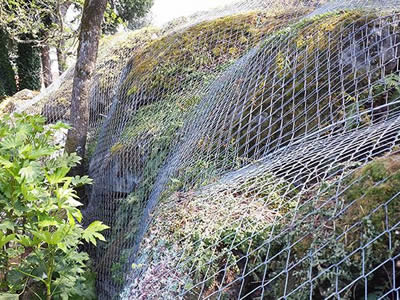 Chain Link Fence As Slope Protection In The Road And Mountain