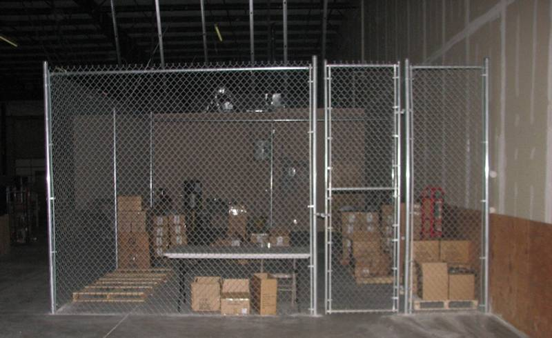 Indoor chain link fence for a warehouse.