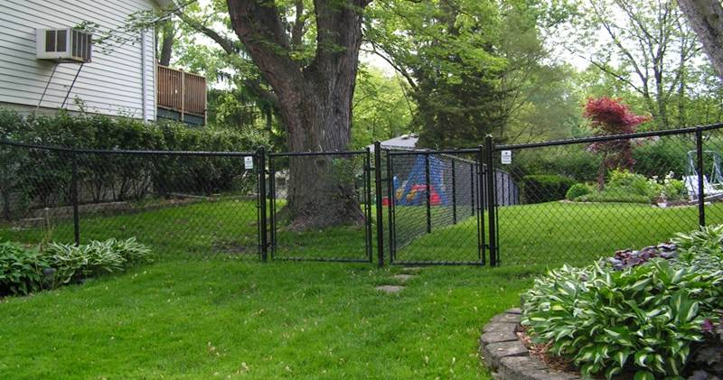 Black vinyl-coated neighboring chain link fence with two swing gates.