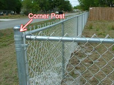 Galvanized corner post of residential chain link fence.
