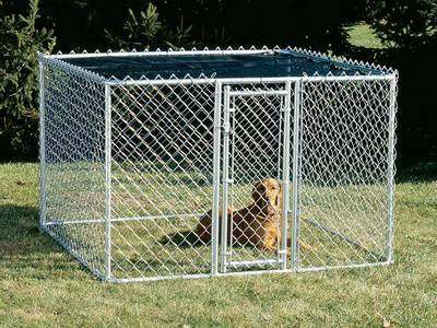 Small chain link dog kennel on the garden.
