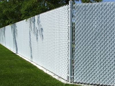 White privacy single wall slats for white chain link fence.