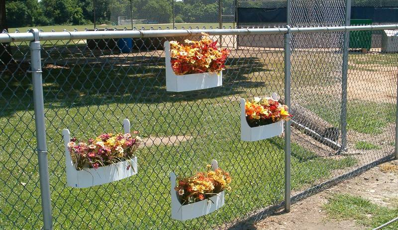Flowers decorating galvanized chain link fence.