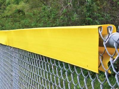 Yellow chain link fence D-shaped topper.