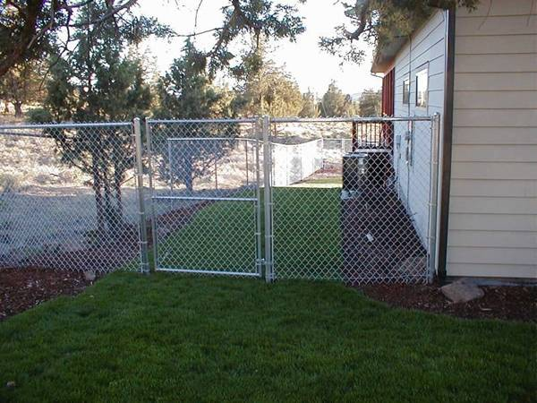 Several trees and a house are surrounded by galvanized chain link fence.