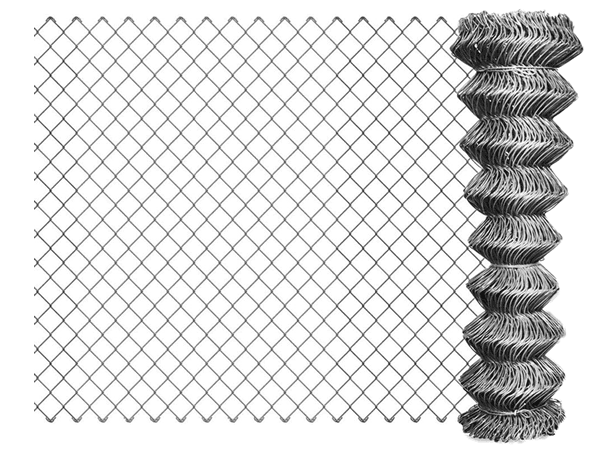 A roll of galvanized chain link fence with unfolding details