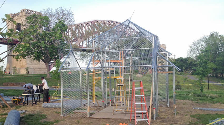 People are using chain link fence to build a greenhouse.