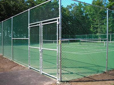 Galvanized tennis court chain link fence with double swing gates.
