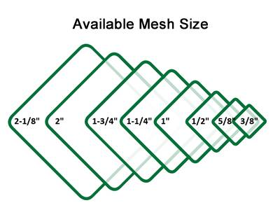Green chain link fence mesh opening from 2 1/8 to 3/8 in.