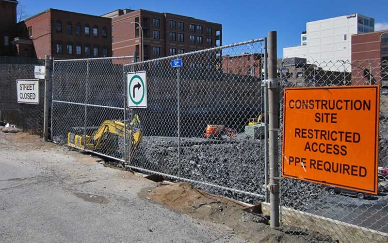 Temporary Chain Link Fence Used For Construction Project
