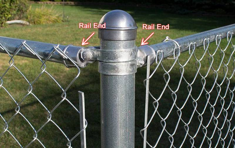 Rail end connecting top rail to corner post by brace band.