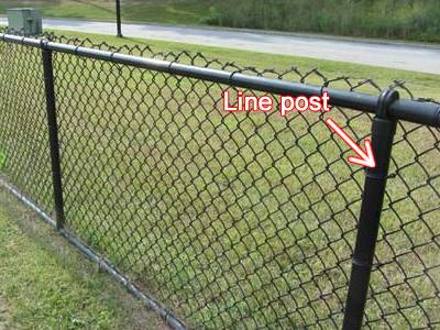 Black vinyl-coated line post of a residential fencing.