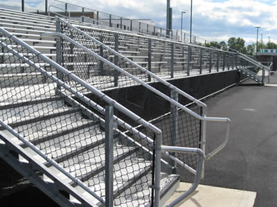 Viewing platform with chain link protection fence and chain link railing.