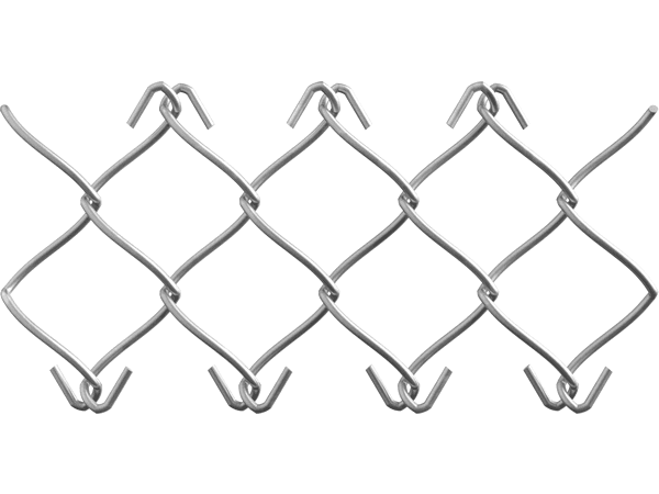 A piece of commercial stainless steel chain link fence with knuckled edge.
