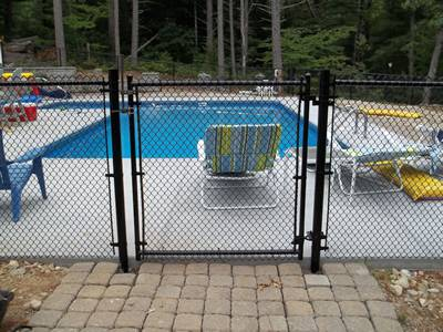 Black vinyl-coating swimming pool chain link fence with swing gate.