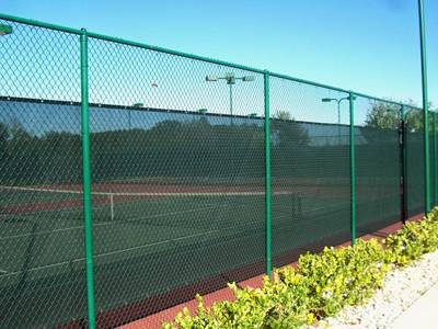 Tennis court green coating chain link fence.